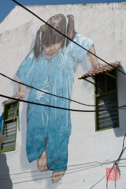 Malaysia 2013 - Georgetown - Street Art - Little Girl in Blue